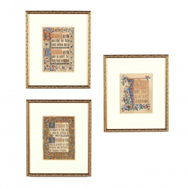 three-antique-illuminated-bible-verse-pages