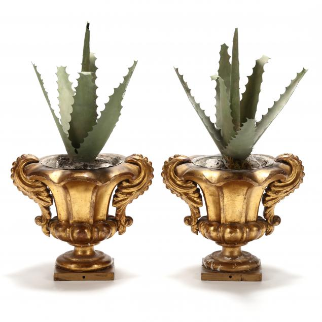 pair-of-antique-giltwood-urns-with-tole-aloe-plants