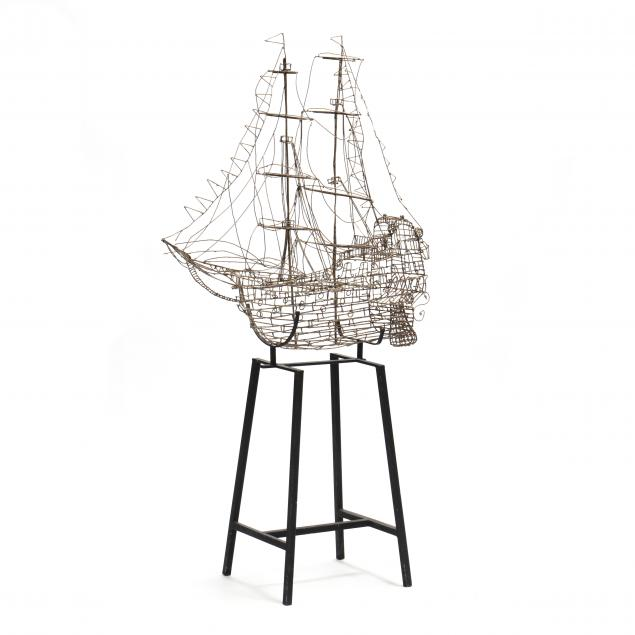 marcello-fantoni-1915-2011-wire-ship-on-stand