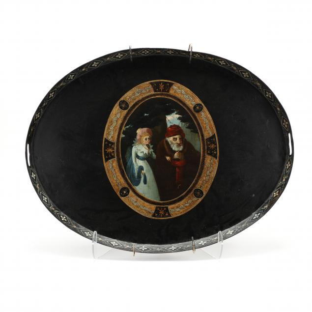 large-antique-continental-toleware-tray