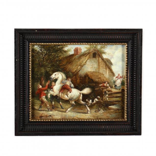 a-decorative-painting-of-young-boys-with-rearing-white-horse