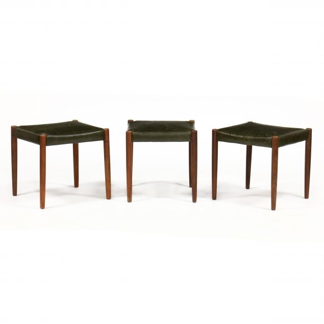 three-danish-modern-teak-stools