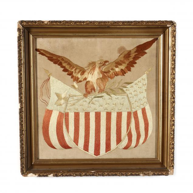 antique-patriotic-silk-engraving-with-an-american-eagle-and-shield