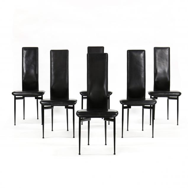 set-of-six-italian-modern-leather-dining-chairs-for-fasem
