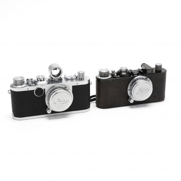 two-vintage-leica-d-r-p-leitz-wetzlar-rangefinder-cameras-each-with-lens