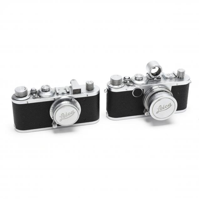 two-vintage-leica-d-r-p-leitz-wetzlar-rangefinder-cameras-with-lenses