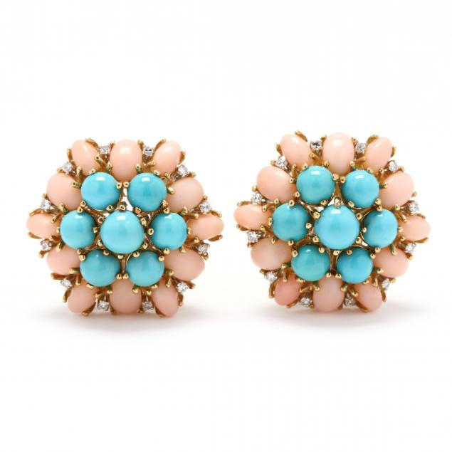 18kt-gold-turquoise-coral-and-diamond-earrings