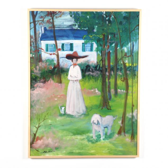 stephen-white-nc-portrait-of-a-woman-and-her-dog-mickel-mangum-smith-house-chapel-hill