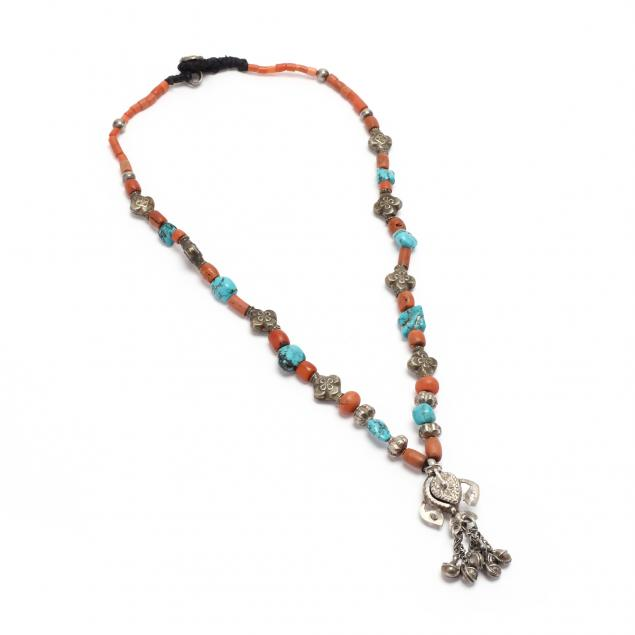 a-sino-tibetan-turquoise-and-coral-necklace