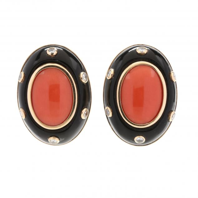 14kt-gold-coral-black-onyx-and-diamond-earclips