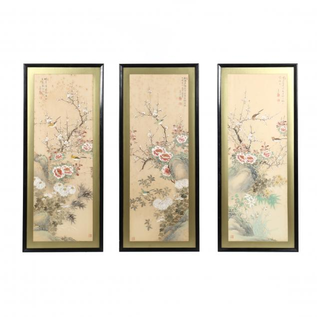 chinese-bird-and-flower-painting-triptych