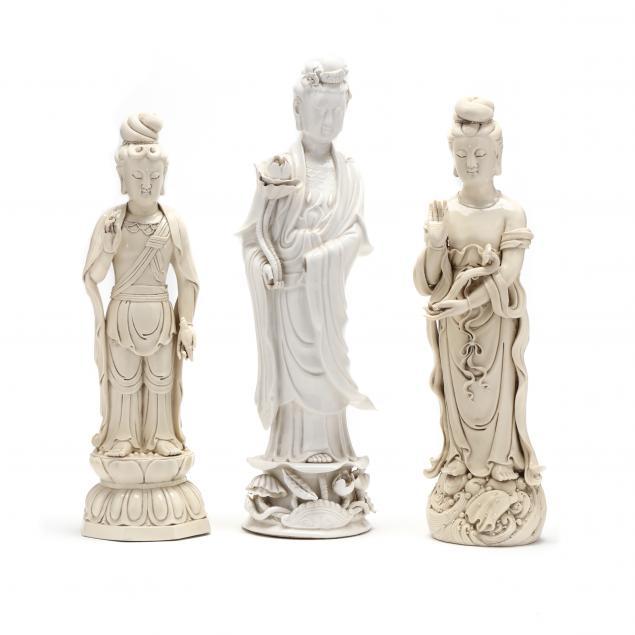 three-blanc-de-chine-porcelain-figures