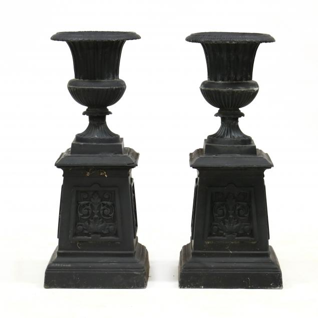 pair-of-classical-style-cast-aluminum-garden-urns-on-stands