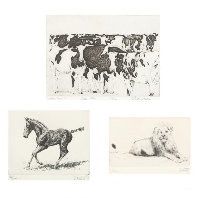 three-etchings-of-a-horse-lion-and-cows