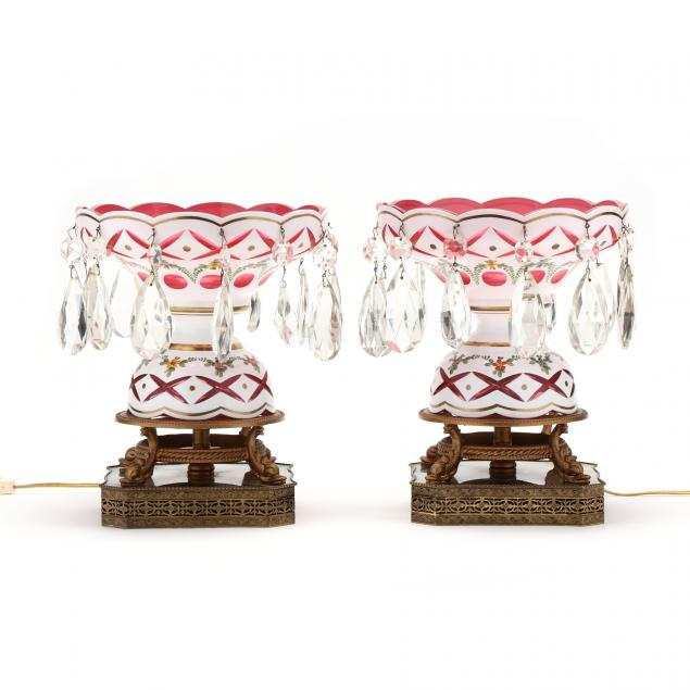 pair-of-bohemian-cut-to-cranberry-lighted-lusters