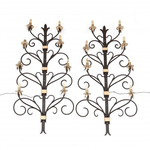 pair-of-large-iron-art-nouveau-lighted-wall-appliques