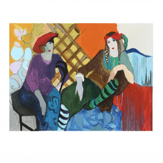 itzchak-tarkay-israeli-1935-2012-two-seated-women