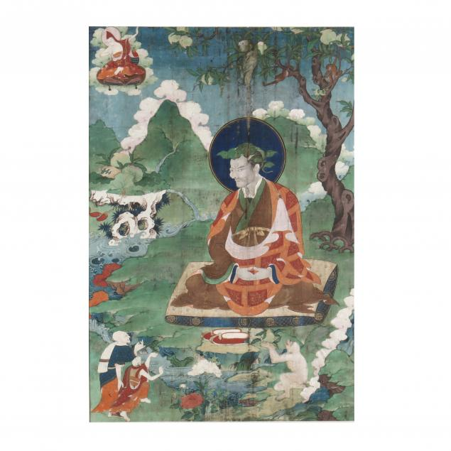 a-tibetan-thangka-painting-of-an-arhat