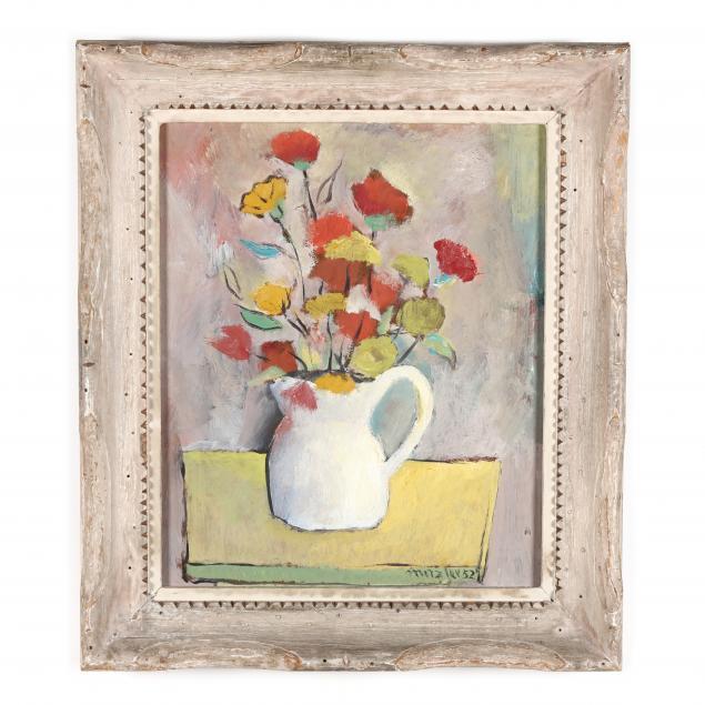 attributed-karl-ernst-metzler-german-american-1909-1995-floral-still-life-in-white-pitcher