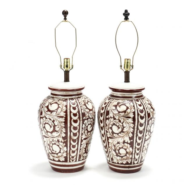 pair-of-italian-modern-large-pottery-table-lamps