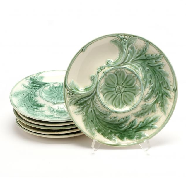 a-set-of-six-majolica-artichoke-plates