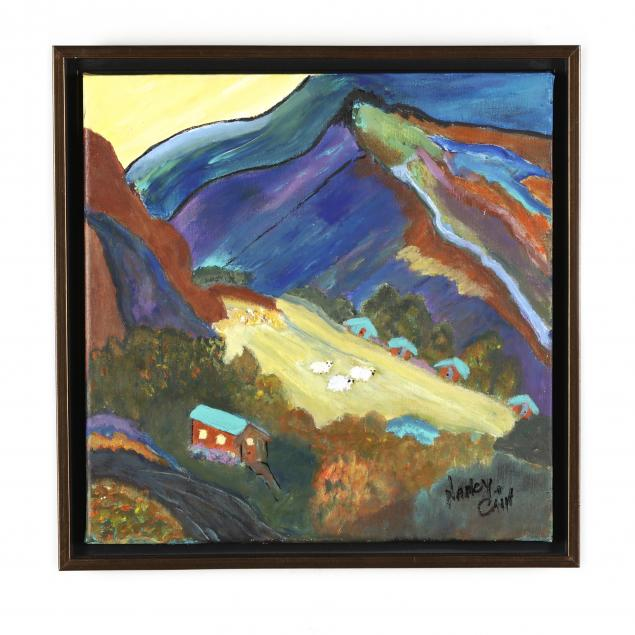 contemporary-painting-of-sheep-in-mountain-pasture