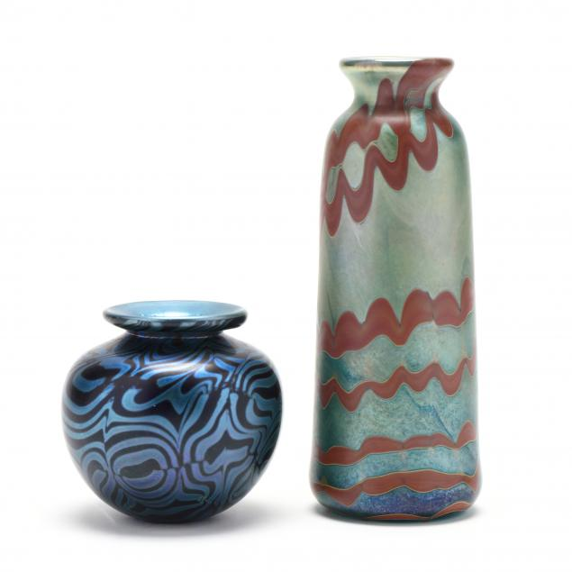 mark-peiser-american-born-1938-two-vintage-art-glass-cabinet-vases