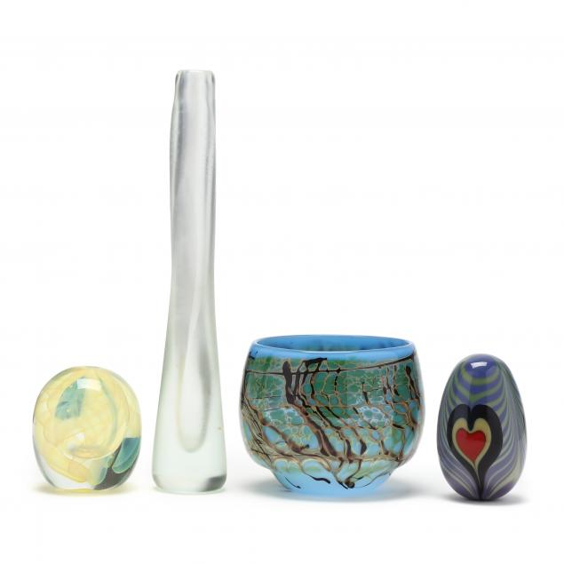 four-pieces-of-american-studio-art-glass