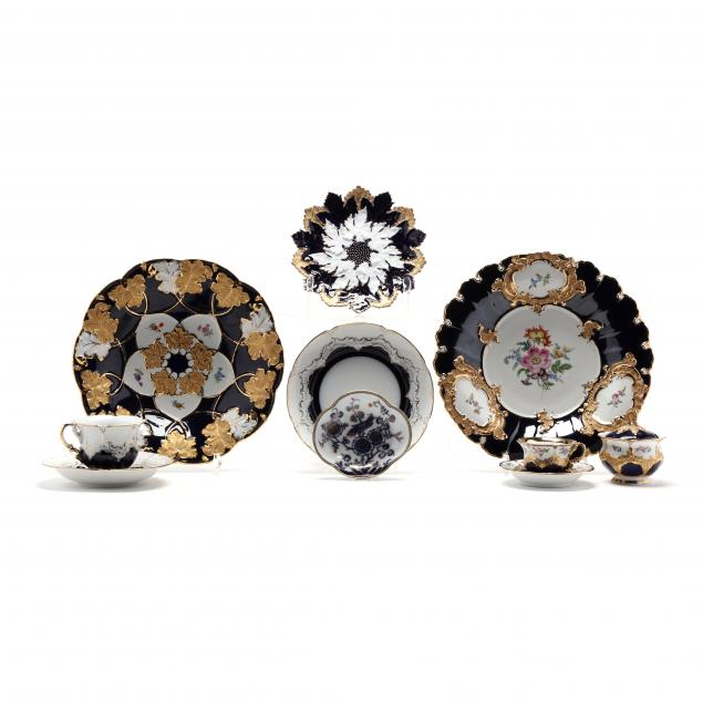 a-selection-of-ten-meissen-cobalt-and-gilt-decorated-porcelain