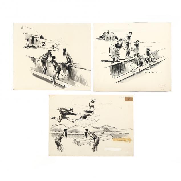 grouping-of-nine-paul-webb-hillbilly-original-advertising-illustrations