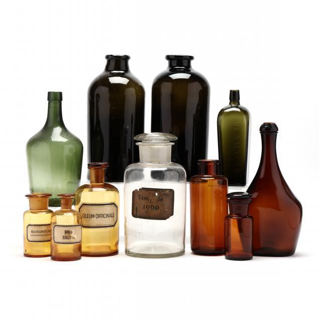 eleven-antique-glass-bottles-and-storage-jars