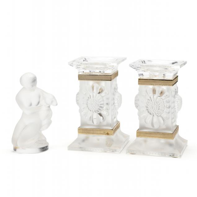 lalique-figurine-and-pair-of-candlesticks