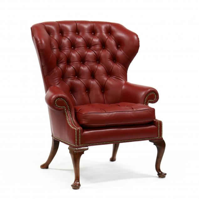 baker-queen-anne-style-leather-upholstered-easy-chair