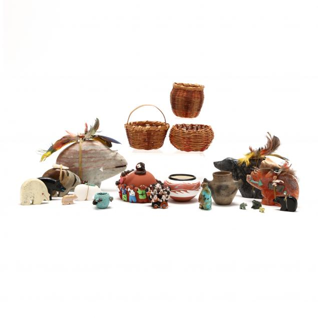 a-group-of-native-american-fetishes-and-pottery