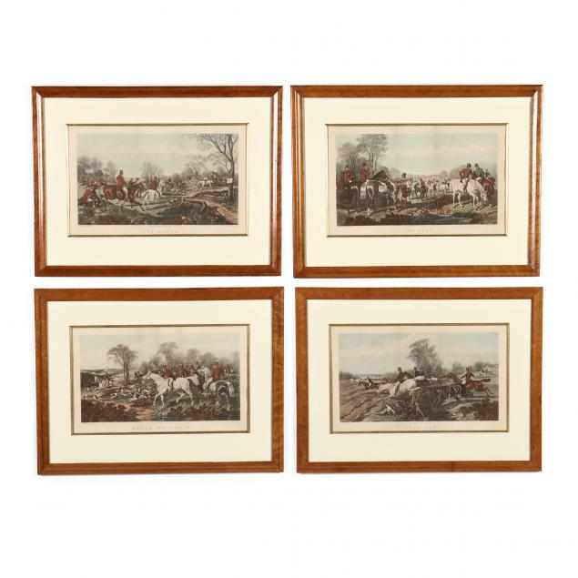 four-hand-colored-fox-hunting-prints