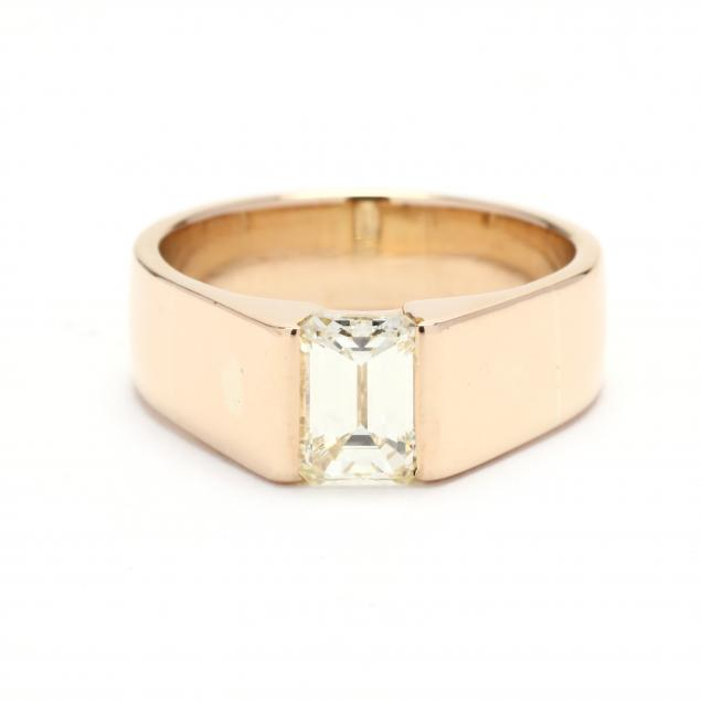 gent-s-18kt-gold-and-emerald-cut-diamond-ring