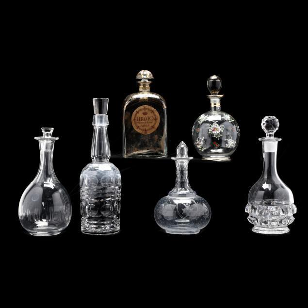 six-vintage-glass-decanters
