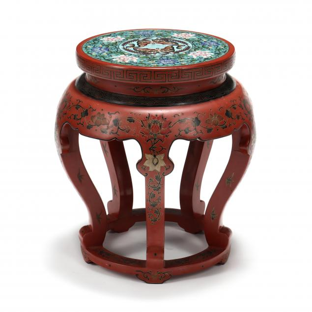 a-chinese-red-lacquered-garden-seat-with-cloisonne