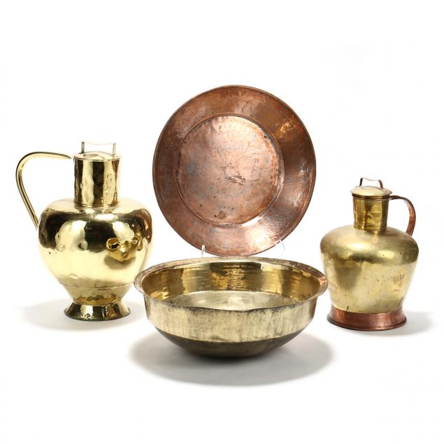 four-large-copper-and-brass-vessels