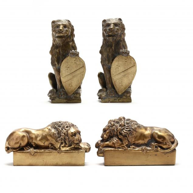 two-pair-of-cast-brass-lion-bookends