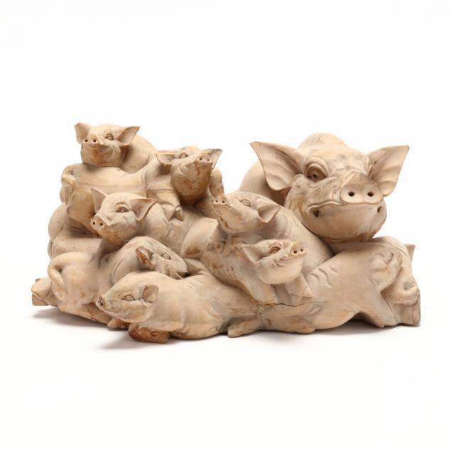 balinese-carved-wood-pig-sculpture