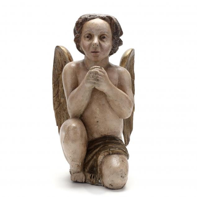 carved-and-painted-wood-figure-of-a-cherub-praying