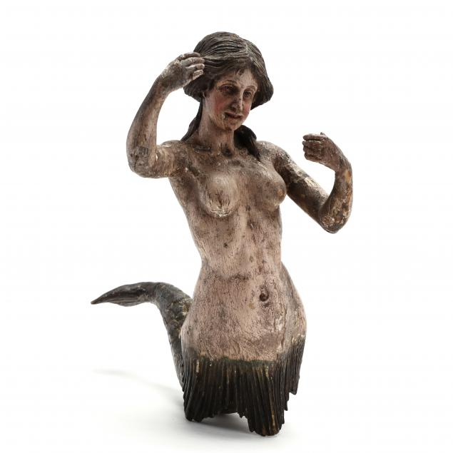 antique-continental-wood-carving-of-a-mermaid