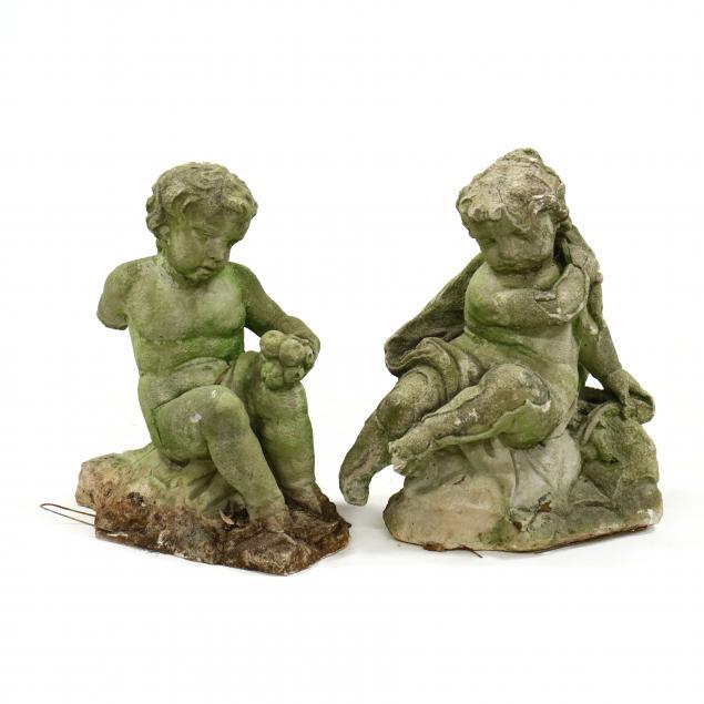 two-vintage-cast-stone-garden-statuary