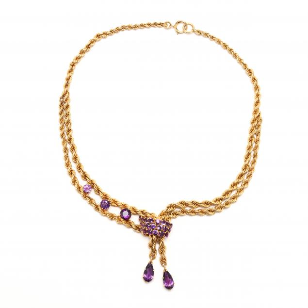 vintage-gold-and-amethyst-necklace