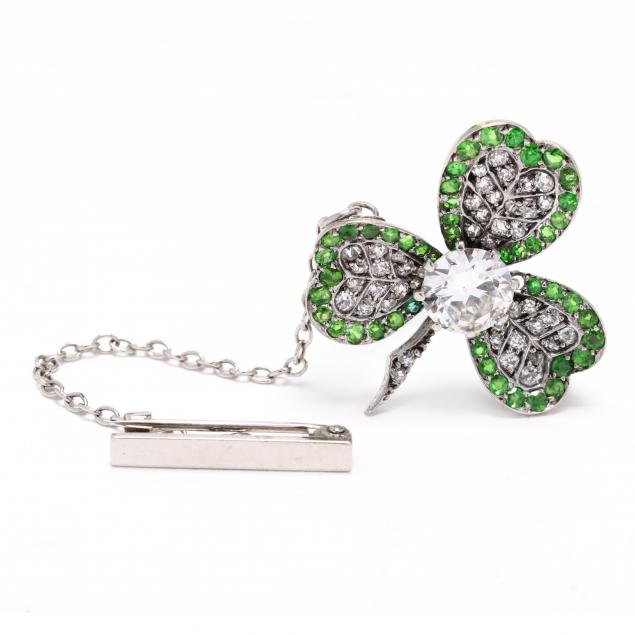 antique-diamond-and-demantoid-garnet-clover-brooch