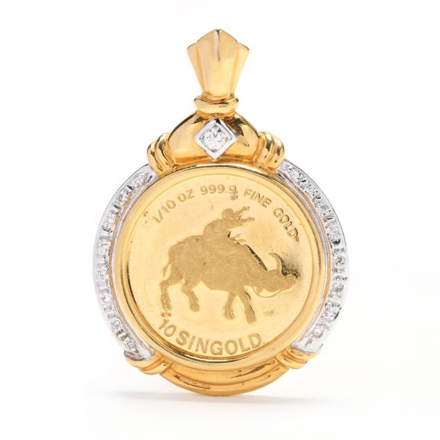 14kt-gold-and-diamond-coin-pendant