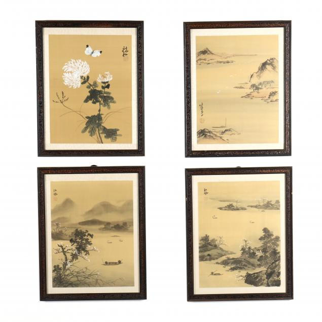 four-chinese-paintings-on-silk