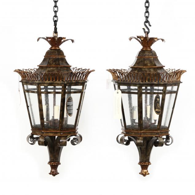 maitland-smith-pair-of-hanging-tole-lanterns