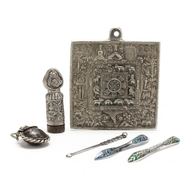 six-antique-asian-silver-and-metal-antiques